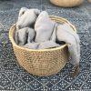 Round storage basket for blankets